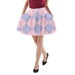 Harlequin Diamond Argyle Pastel Pink Blue A-Line Pocket Skirt