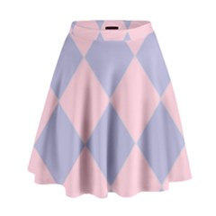 Harlequin Diamond Argyle Pastel Pink Blue High Waist Skirt