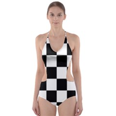 Checkered Flag Race Winner Mosaic Tile Pattern Cut-Out One Piece Swimsuit