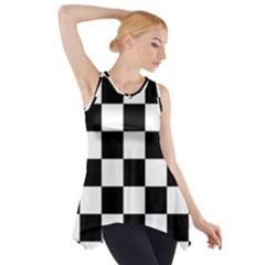 Checkered Flag Race Winner Mosaic Tile Pattern Side Drop Tank Tunic