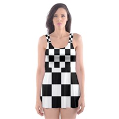 Checkered Flag Race Winner Mosaic Tile Pattern Skater Dress Swimsuit