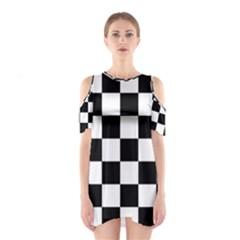 Checkered Flag Race Winner Mosaic Tile Pattern Cutout Shoulder Dress
