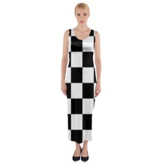 Checkered Flag Race Winner Mosaic Tile Pattern Fitted Maxi Dress