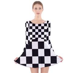 Checkered Flag Race Winner Mosaic Tile Pattern Long Sleeve Velvet Skater Dress