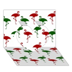 Flamingos Christmas Pattern Red Green Heart 3D Greeting Card (7x5)
