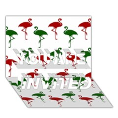 Flamingos Christmas Pattern Red Green You Are Invited 3d Greeting Card (7x5)