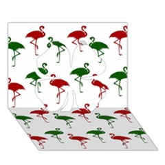 Flamingos Christmas Pattern Red Green Clover 3D Greeting Card (7x5)