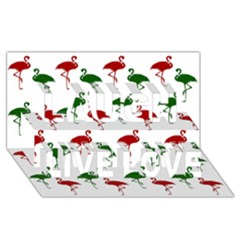 Flamingos Christmas Pattern Red Green Laugh Live Love 3D Greeting Card (8x4)