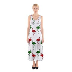 Flamingos Christmas Pattern Red Green Sleeveless Maxi Dress