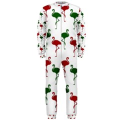 Flamingos Christmas Pattern Red Green OnePiece Jumpsuit (Men)