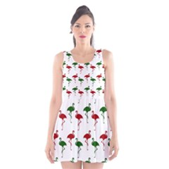 Flamingos Christmas Pattern Red Green Scoop Neck Skater Dress