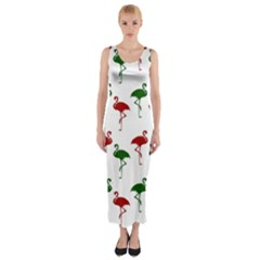 Flamingos Christmas Pattern Red Green Fitted Maxi Dress
