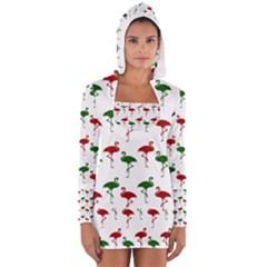 Flamingos Christmas Pattern Red Green Women s Long Sleeve Hooded T-shirt