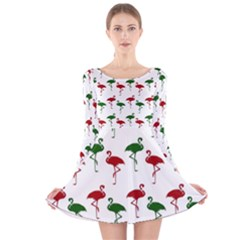 Flamingos Christmas Pattern Red Green Long Sleeve Velvet Skater Dress