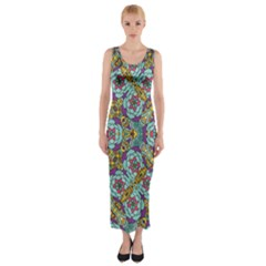 Mariager   Bold Blue,purple And Yellow Flower Design Fitted Maxi Dress