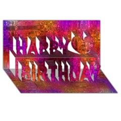 Purple Orange Pink Colorful Happy Birthday 3D Greeting Card (8x4)