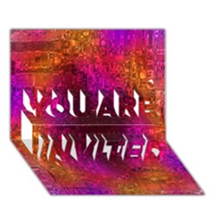 Purple Orange Pink Colorful YOU ARE INVITED 3D Greeting Card (7x5)