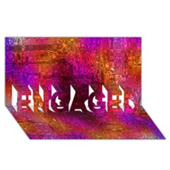 Purple Orange Pink Colorful ENGAGED 3D Greeting Card (8x4)