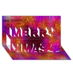 Purple Orange Pink Colorful Merry Xmas 3D Greeting Card (8x4)
