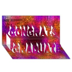 Purple Orange Pink Colorful Congrats Graduate 3D Greeting Card (8x4)