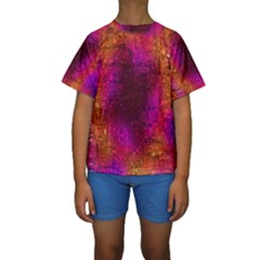 Purple Orange Pink Colorful Kid s Short Sleeve Swimwear