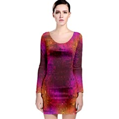 Purple Orange Pink Colorful Long Sleeve Bodycon Dress