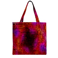 Purple Orange Pink Colorful Zipper Grocery Tote Bag