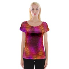 Purple Orange Pink Colorful Women s Cap Sleeve Top