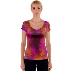 Purple Orange Pink Colorful Women s V-Neck Cap Sleeve Top