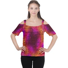 Purple Orange Pink Colorful Women s Cutout Shoulder Tee