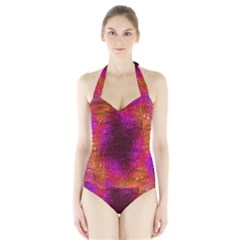 Purple Orange Pink Colorful Women s Halter One Piece Swimsuit