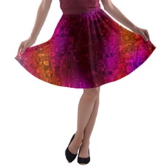 Purple Orange Pink Colorful A-line Skater Skirt