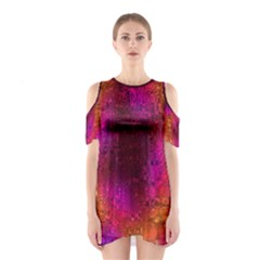 Purple Orange Pink Colorful Cutout Shoulder Dress