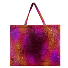 Purple Orange Pink Colorful Zipper Large Tote Bag