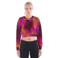 Purple Orange Pink Colorful Women s Cropped Sweatshirt
