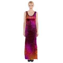 Purple Orange Pink Colorful Maxi Thigh Split Dress