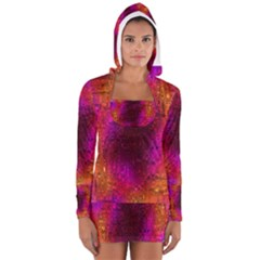 Purple Orange Pink Colorful Women s Long Sleeve Hooded T-shirt
