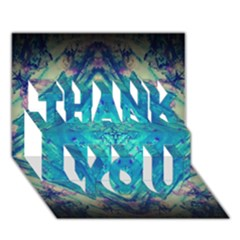 Boho Hippie Tie Dye Retro Seventies Blue Violet THANK YOU 3D Greeting Card (7x5)