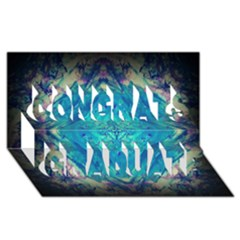 Boho Hippie Tie Dye Retro Seventies Blue Violet Congrats Graduate 3D Greeting Card (8x4)