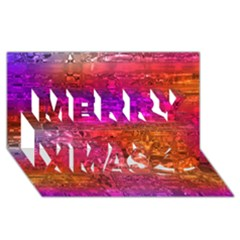 Purple Orange Pink Colorful Art Merry Xmas 3D Greeting Card (8x4)