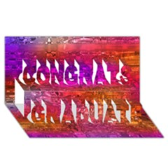 Purple Orange Pink Colorful Art Congrats Graduate 3D Greeting Card (8x4)