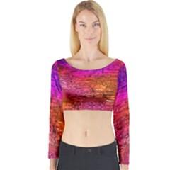 Purple Orange Pink Colorful Art Long Sleeve Crop Top