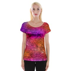 Purple Orange Pink Colorful Art Women s Cap Sleeve Top