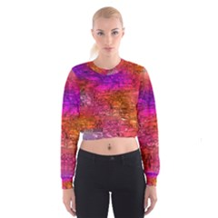 Purple Orange Pink Colorful Art Women s Cropped Sweatshirt