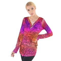 Purple Orange Pink Colorful Art Women s Tie Up Tee