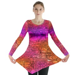 Purple Orange Pink Colorful Art Long Sleeve Tunic