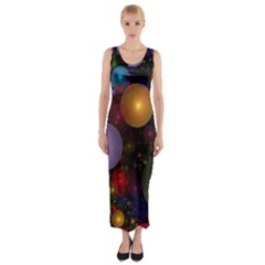 Billions Of Bubbles Fitted Maxi Dress