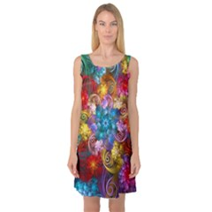 Spirals And Curlicues Sleeveless Satin Nightdress