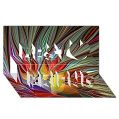 Fractal Bird Of Paradise Best Friends 3d Greeting Card (8x4)
