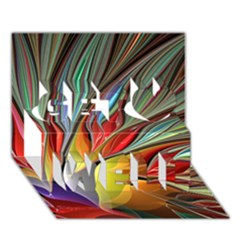 Fractal Bird of Paradise Get Well 3D Greeting Card (7x5)
